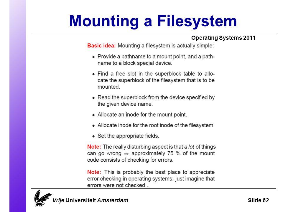 Mounting a Filesystem Vrije Universiteit AmsterdamSlide 62 Operating Systems 2011