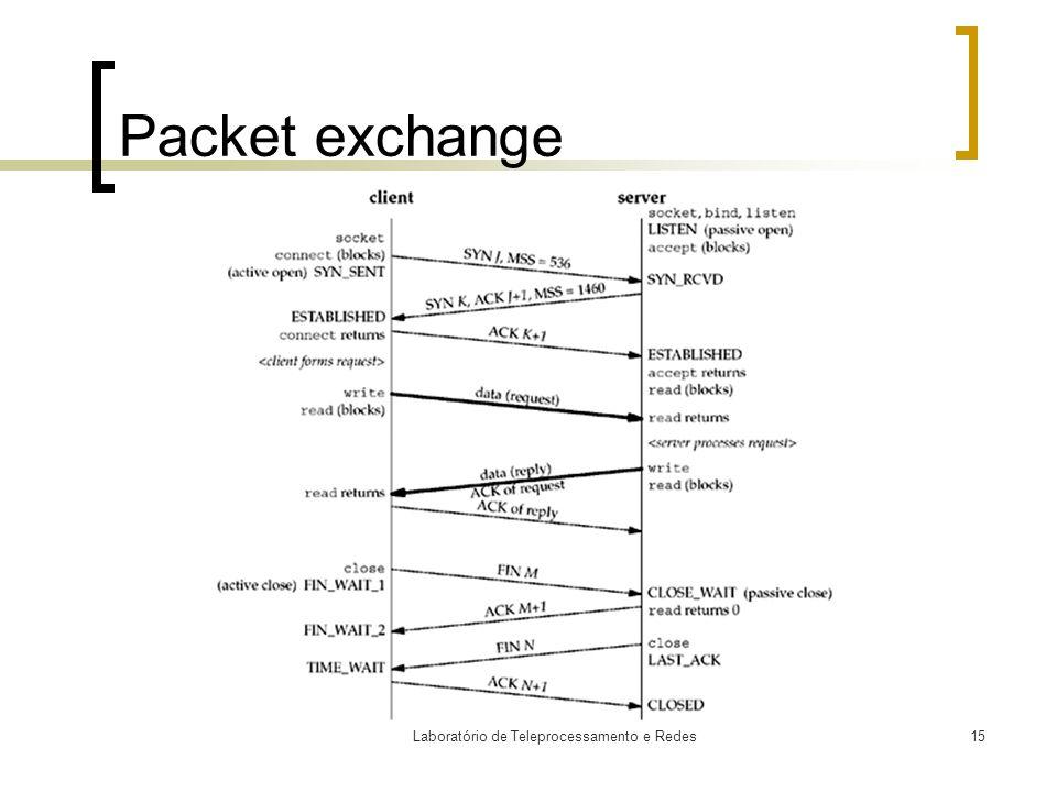 Laboratório de Teleprocessamento e Redes15 Packet exchange