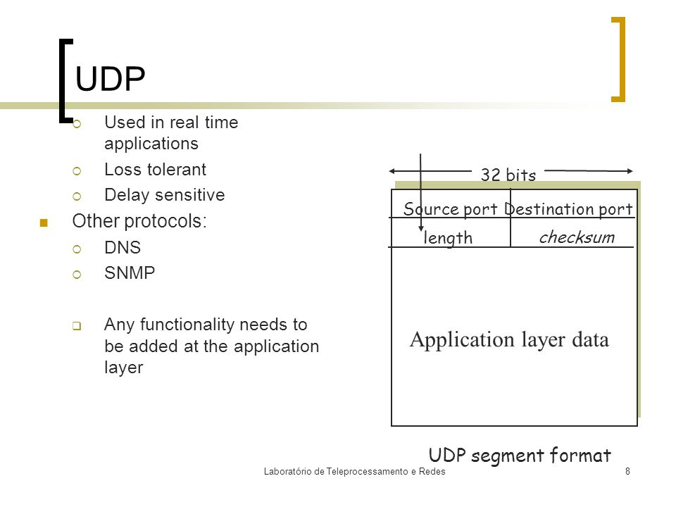 Laboratório de Teleprocessamento e Redes8 UDP  Used in real time applications  Loss tolerant  Delay sensitive Other protocols:  DNS  SNMP  Any functionality needs to be added at the application layer Source port 32 bits Application layer data UDP segment format length checksum Destination port