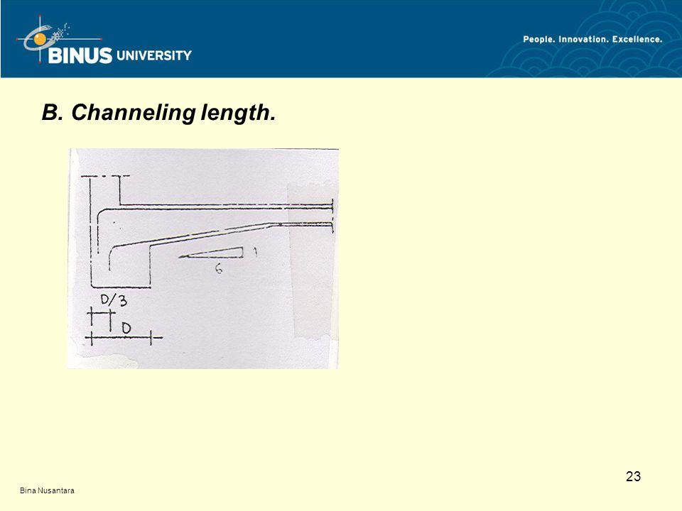 Bina Nusantara 23 B. Channeling length.