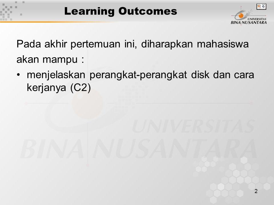 2 Learning Outcomes Pada akhir pertemuan ini, diharapkan mahasiswa akan mampu : menjelaskan perangkat-perangkat disk dan cara kerjanya (C2)