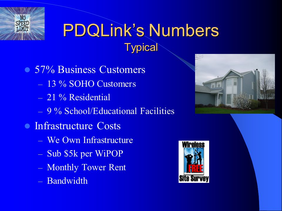 PDQLink's Numbers Typical 57% Business Customers – 13 % SOHO Customers – 21 % Residential – 9 % School/Educational Facilities Infrastructure Costs – W