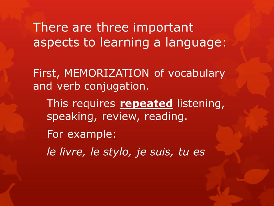 There are three important aspects to learning a language: First, MEMORIZATION of vocabulary and verb conjugation.