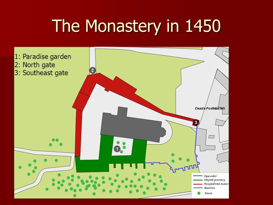 The Monastery in 1450 1: Paradise garden 2: North gate 3: Southeast gate