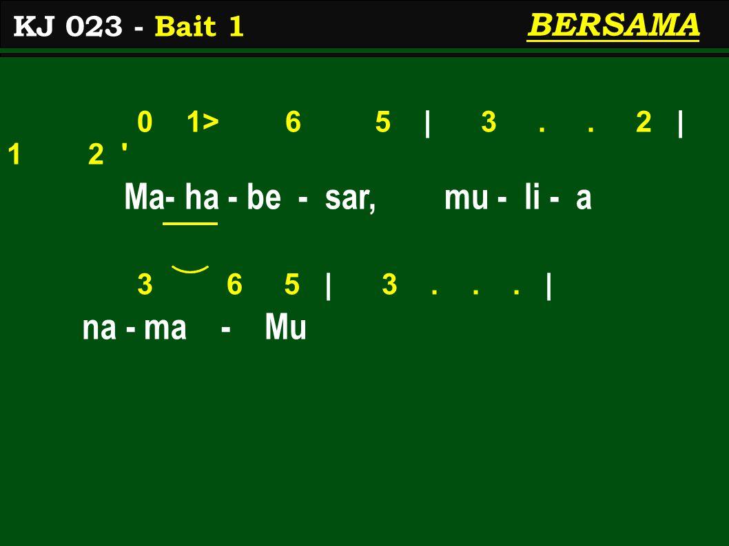 0 1> 6 5 | 3.. 2 | 1 2 Ma- ha - be - sar, mu - li - a 3 6 5 | 3...