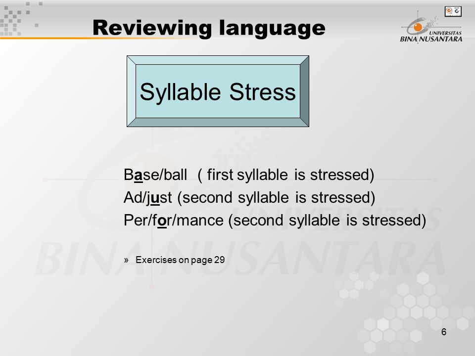 6 Reviewing language Base/ball ( first syllable is stressed) Ad/just (second syllable is stressed) Per/for/mance (second syllable is stressed) »Exercises on page 29 Syllable Stress