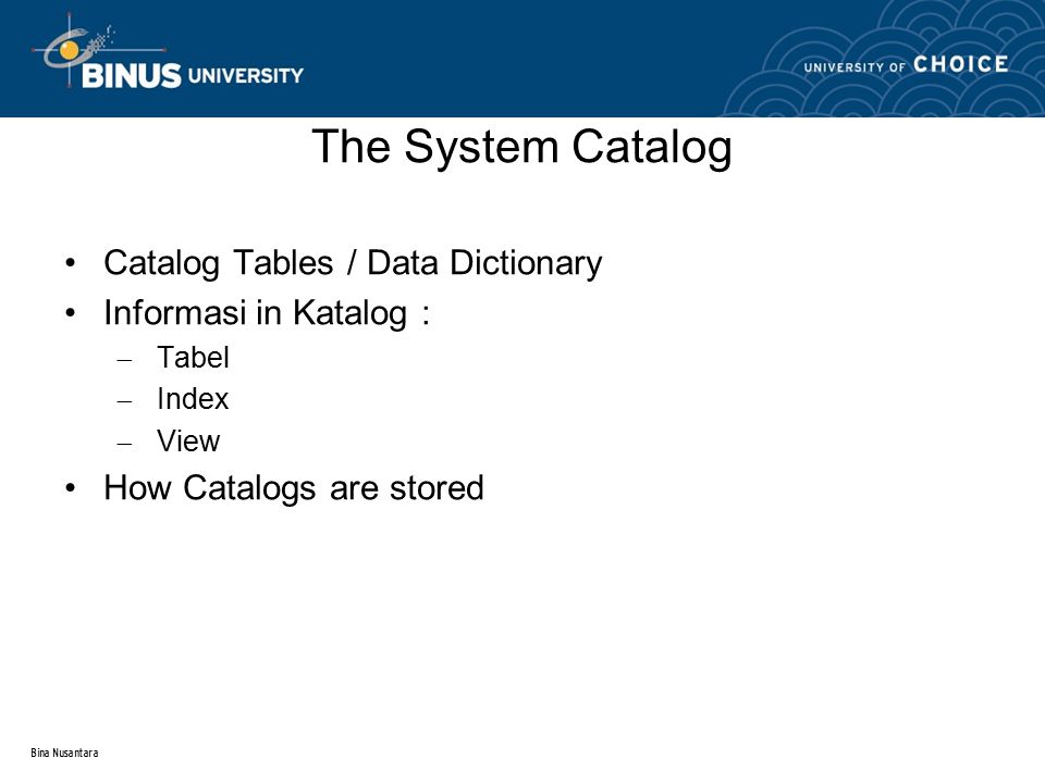 Bina Nusantara Catalog Tables / Data Dictionary Informasi in Katalog :  Tabel  Index  View How Catalogs are stored The System Catalog