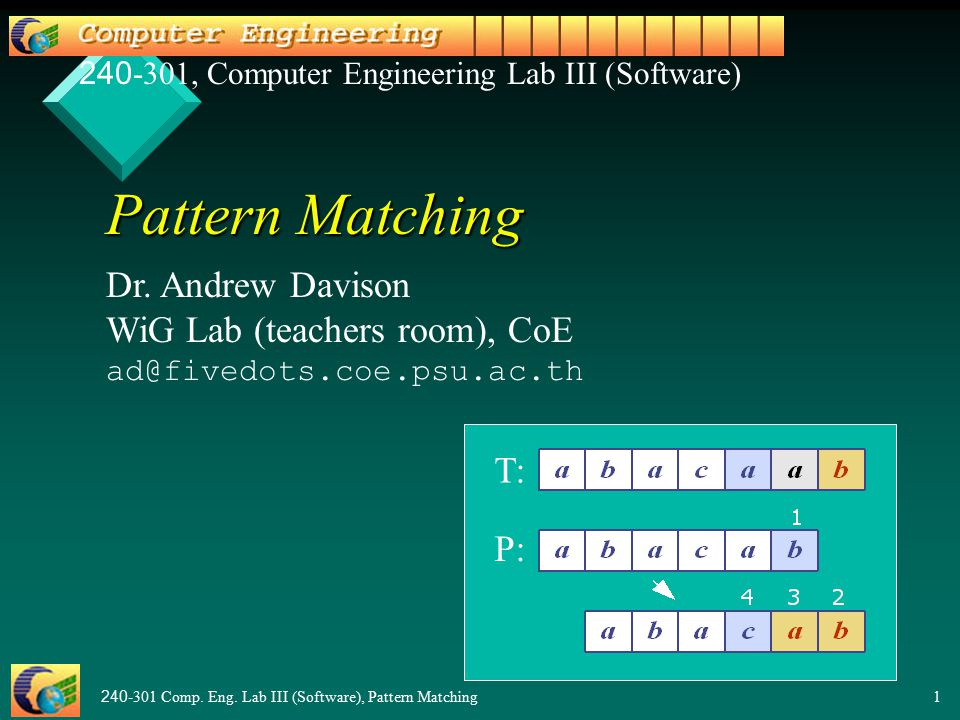 240-301 Comp. Eng. Lab III (Software), Pattern Matching1 Pattern Matching Dr.