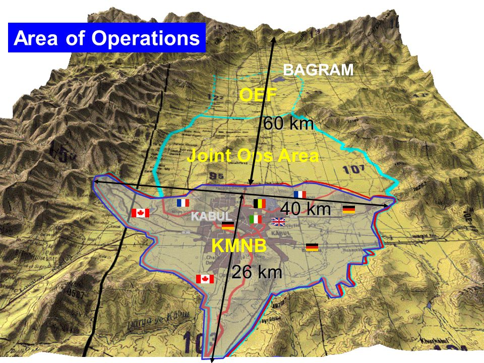 BAGRAM OEF Joint Ops Area KABUL 40 km 26 km KMNB Area of Operations 60 km