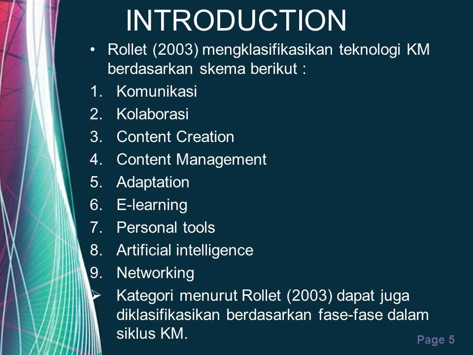 Free Powerpoint Templates Page 5 INTRODUCTION Rollet (2003) mengklasifikasikan teknologi KM berdasarkan skema berikut : 1.Komunikasi 2.Kolaborasi 3.Co