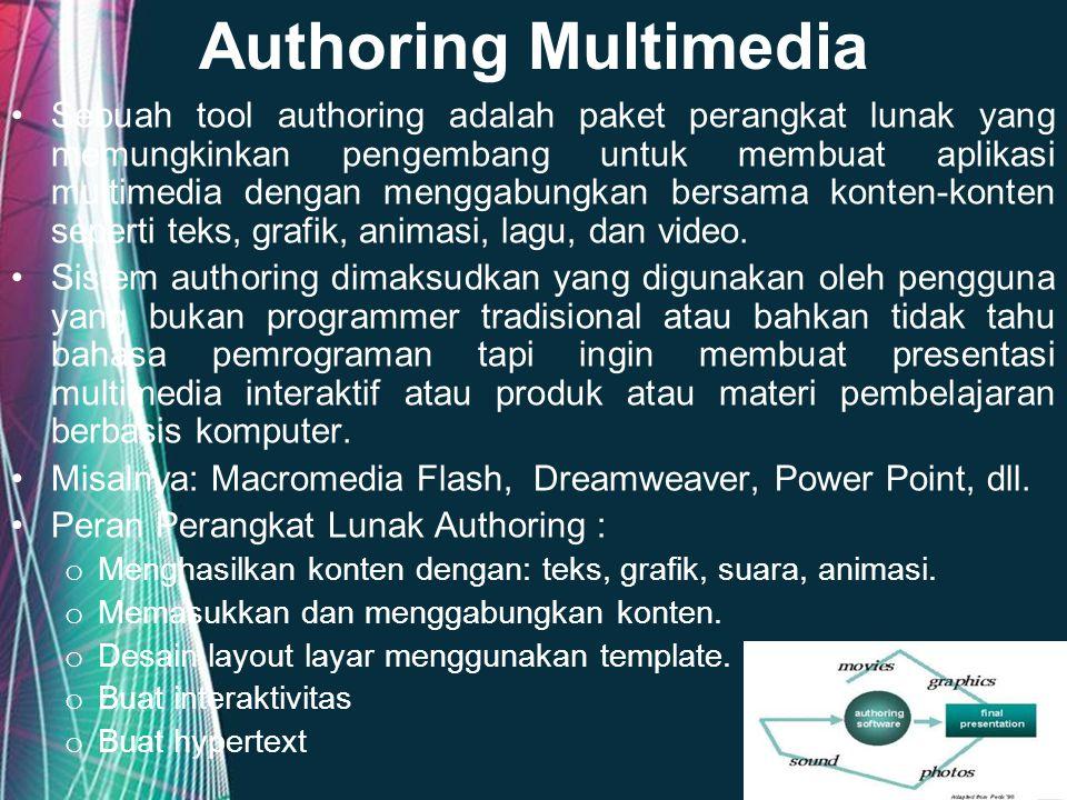 Free Powerpoint Templates Page 7 Authoring Multimedia Sebuah tool authoring adalah paket perangkat lunak yang memungkinkan pengembang untuk membuat ap