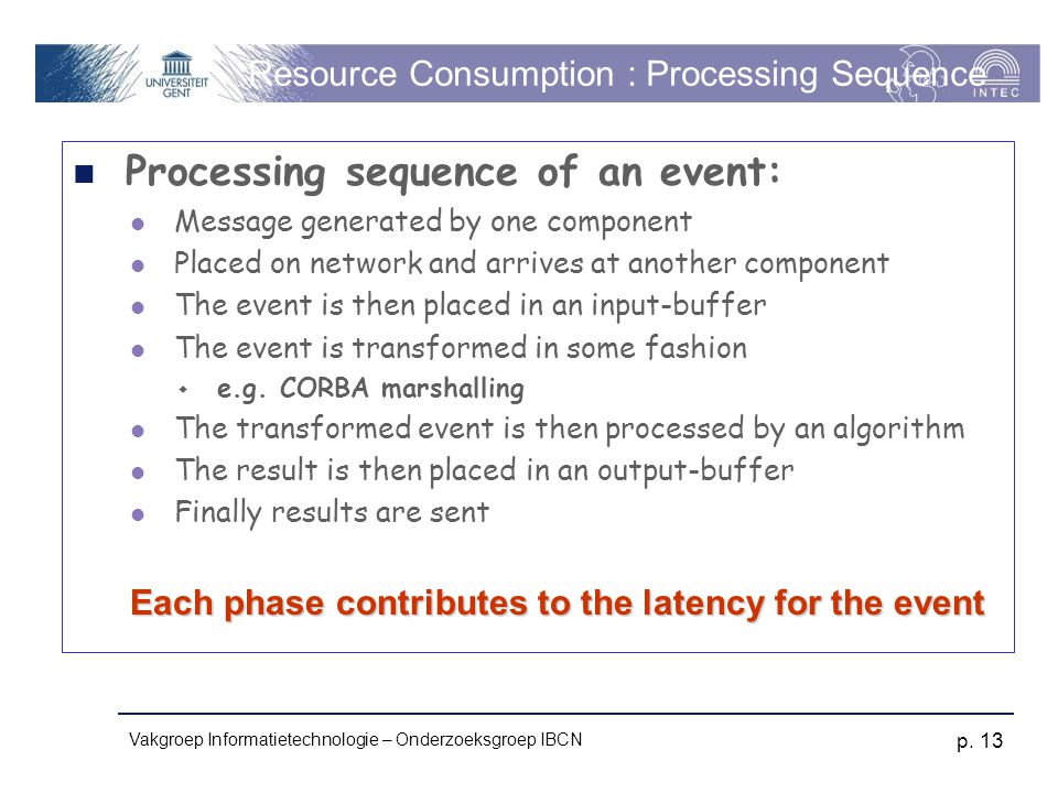 Vakgroep Informatietechnologie – Onderzoeksgroep IBCN p. 13 Resource Consumption : Processing Sequence Processing sequence of an event: Message genera