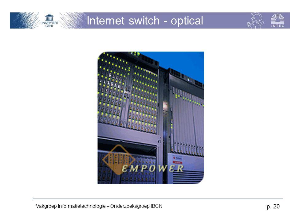 Vakgroep Informatietechnologie – Onderzoeksgroep IBCN p. 20 Internet switch - optical