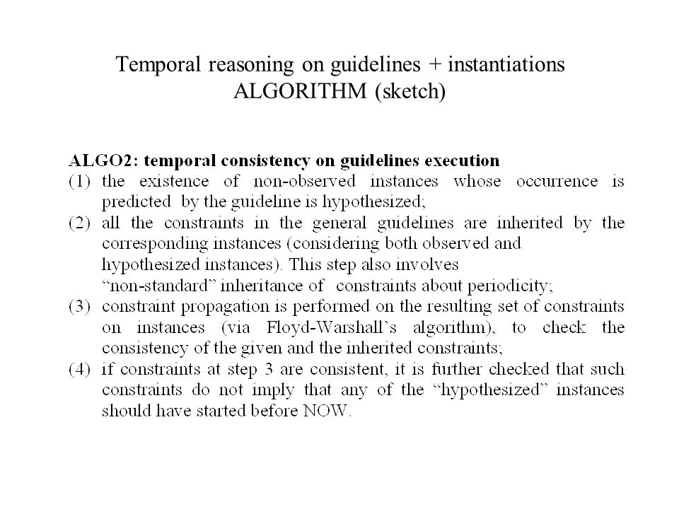 Temporal reasoning on guidelines + instantiations ALGORITHM (sketch)