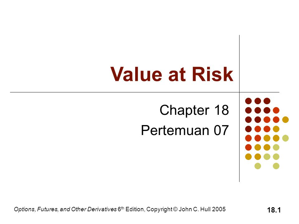 Options, Futures, and Other Derivatives 6 th Edition, Copyright © John C. Hull 2005 18.1 Chapter 18 Pertemuan 07 Value at Risk
