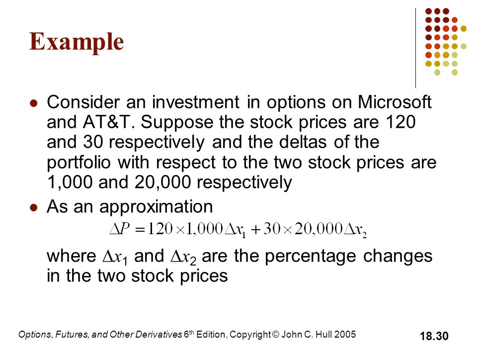 Options, Futures, and Other Derivatives 6 th Edition, Copyright © John C. Hull 2005 18.30 Example Consider an investment in options on Microsoft and A