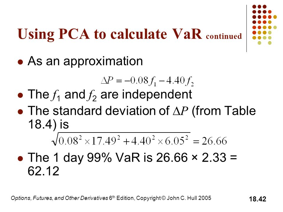Options, Futures, and Other Derivatives 6 th Edition, Copyright © John C. Hull 2005 18.42 Using PCA to calculate VaR continued As an approximation The