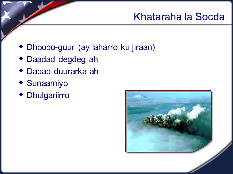 Khataraha la Socda  Dhoobo-guur (ay laharro ku jiraan)  Daadad degdeg ah  Dabab duurarka ah  Sunaamiyo  Dhulgariirro