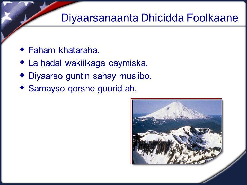 Diyaarsanaanta Dhicidda Foolkaane  Faham khataraha.