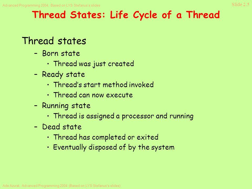 Ade Azurat, Advanced Programming 2004 (Based on LYS Stefanus's slides) Advanced Programming 2004, Based on LYS Stefanus's slides Slide 2.5 Thread Stat