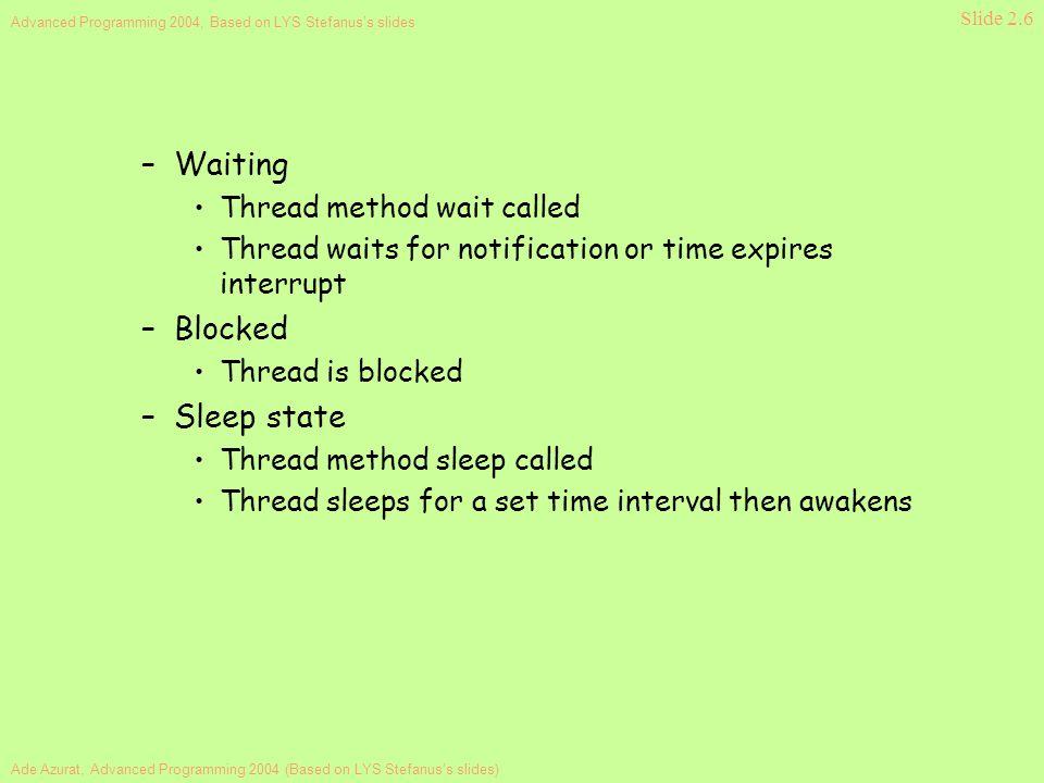 Ade Azurat, Advanced Programming 2004 (Based on LYS Stefanus's slides) Advanced Programming 2004, Based on LYS Stefanus's slides Slide 2.6 –Waiting Th