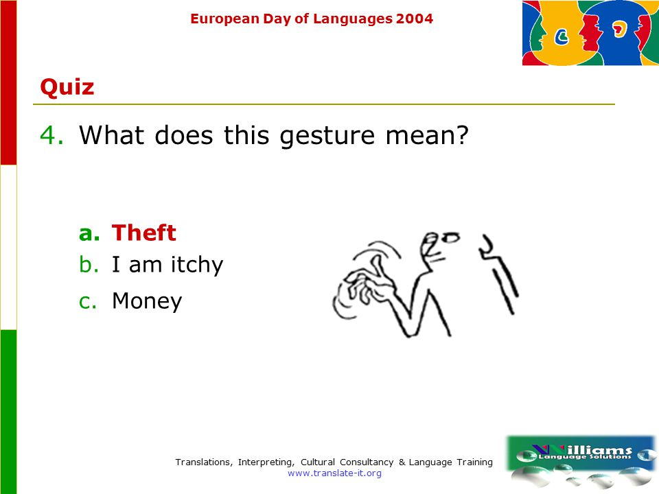 European Day of Languages 2004 Translations, Interpreting, Cultural Consultancy & Language Training www.translate-it.org Quiz 4.What does this gesture mean.