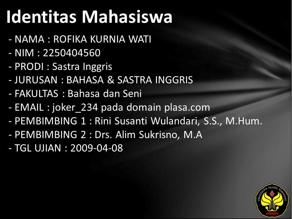 Identitas Mahasiswa - NAMA : ROFIKA KURNIA WATI - NIM : 2250404560 - PRODI : Sastra Inggris - JURUSAN : BAHASA & SASTRA INGGRIS - FAKULTAS : Bahasa dan Seni - EMAIL : joker_234 pada domain plasa.com - PEMBIMBING 1 : Rini Susanti Wulandari, S.S., M.Hum.