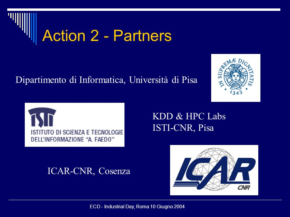 ECD - Industrial Day, Roma 10 Giugno 2004 Some related projects  WebFountain - IBM  WebBase - Stanford DBGroup