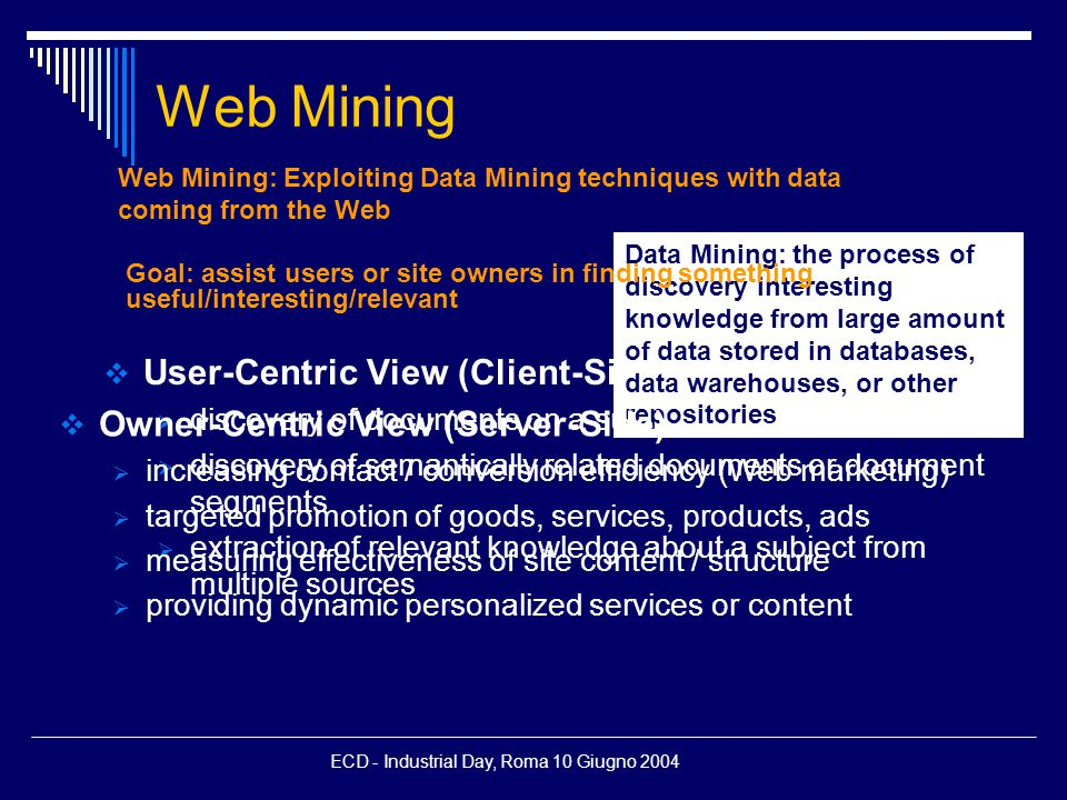 ECD - Industrial Day, Roma 10 Giugno 2004 Web Mining  User-Centric View (Client-Side)  discovery of documents on a subject  discovery of semantically related documents or document segments  extraction of relevant knowledge about a subject from multiple sources Web Mining: Exploiting Data Mining techniques with data coming from the Web Data Mining: the process of discovery interesting knowledge from large amount of data stored in databases, data warehouses, or other repositories Goal: assist users or site owners in finding something useful/interesting/relevant  Owner-Centric View (Server-Side)  increasing contact / conversion efficiency (Web marketing)  targeted promotion of goods, services, products, ads  measuring effectiveness of site content / structure  providing dynamic personalized services or content