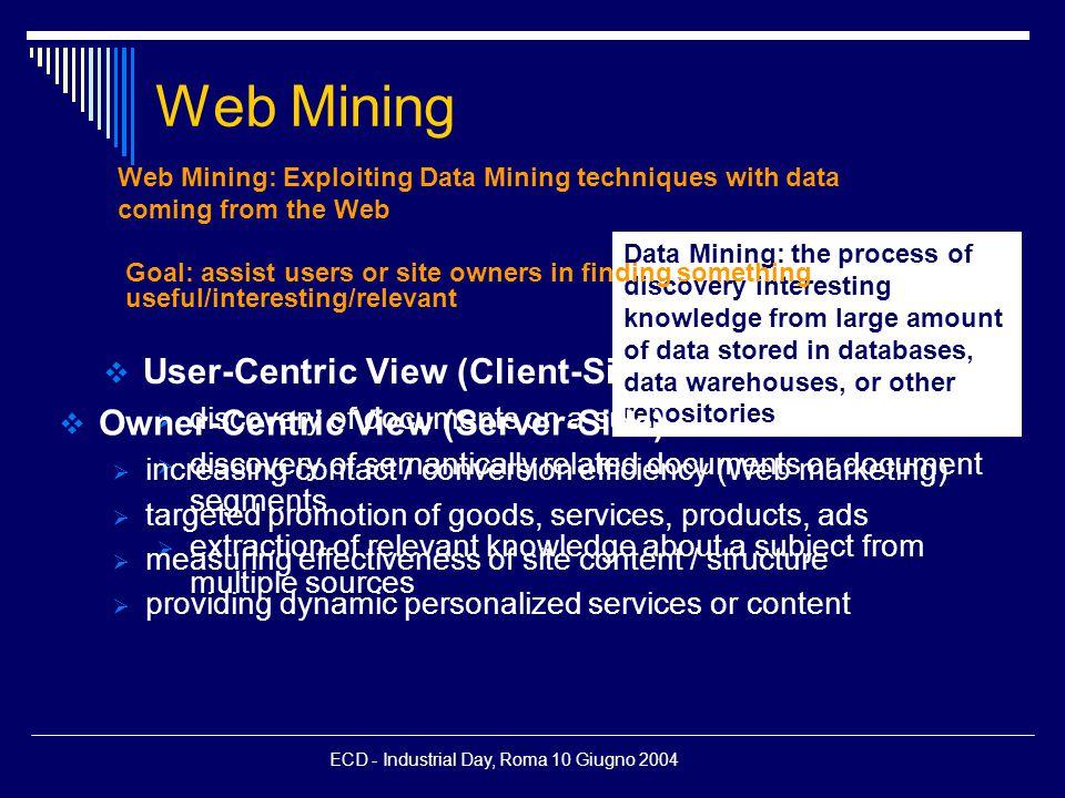 ECD - Industrial Day, Roma 10 Giugno 2004 Content delivery (WP 2.1)  Clustering of  E-mails (manco)  XML documents (chiara)  ??