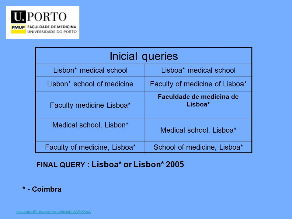 http://scientific.thomson.com/pt/produtos/WoK/wok/ Inicial queries Lisbon* medical schoolLisboa* medical school Lisbon* school of medicineFaculty of medicine of Lisboa* Faculty medicine Lisboa* Faculdade de medicina de Lisboa* Medical school, Lisbon* Medical school, Lisboa* Faculty of medicine, Lisboa*School of medicine, Lisboa* * - Coimbra FINAL QUERY : Lisboa* or Lisbon* 2005