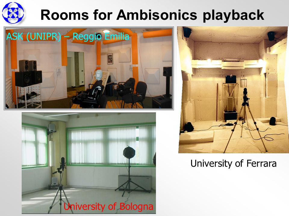 Rooms for Ambisonics playback University of Bologna University of Ferrara ASK (UNIPR) – Reggio Emilia