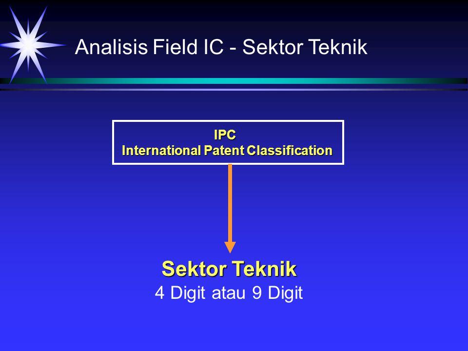 Analisis Field IC - Sektor Teknik IPC International Patent Classification Sektor Teknik 4 Digit atau 9 Digit