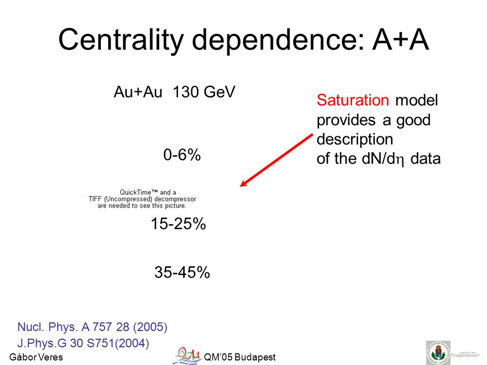 Gábor VeresQM'05 Budapest Centrality dependence: A+A Au+Au 130 GeV 0-6% 15-25% 35-45% J.Phys.G 30 S751(2004) Saturation model provides a good description of the dN/d  data Nucl.