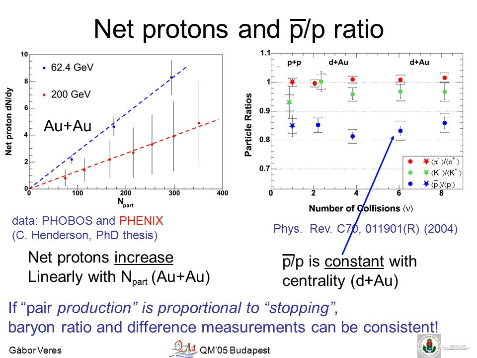 Gábor VeresQM'05 Budapest Net protons and p/p ratio data: PHOBOS and PHENIX (C.