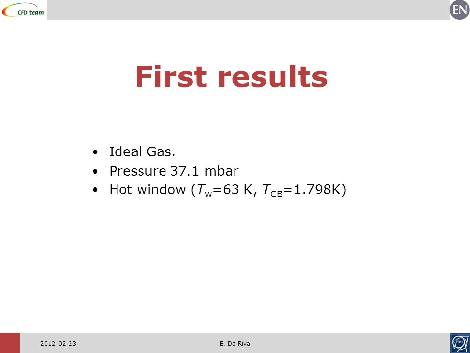 2012-02-23E.Da Riva First results Ideal Gas.