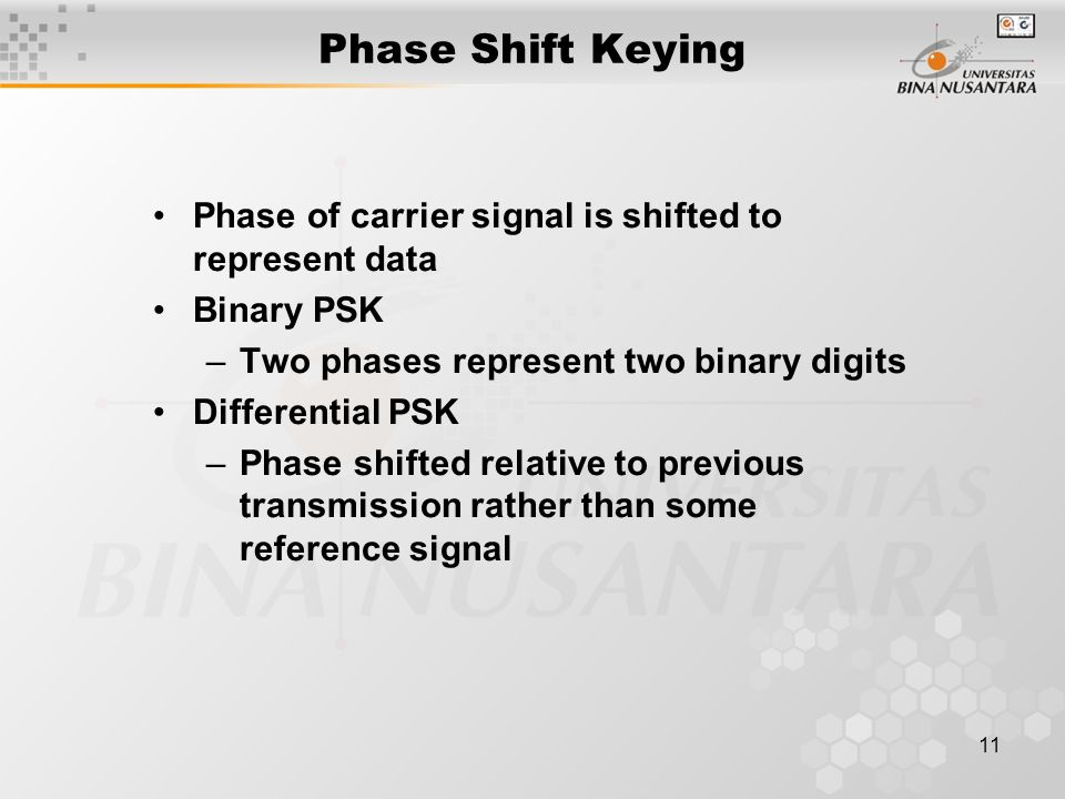 11 Phase Shift Keying Phase of carrier signal is shifted to represent data Binary PSK –Two phases represent two binary digits Differential PSK –Phase shifted relative to previous transmission rather than some reference signal