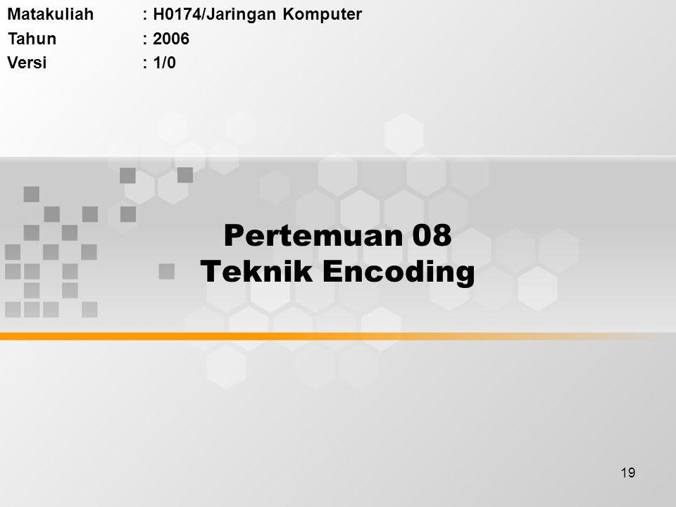 19 Pertemuan 08 Teknik Encoding Matakuliah: H0174/Jaringan Komputer Tahun: 2006 Versi: 1/0