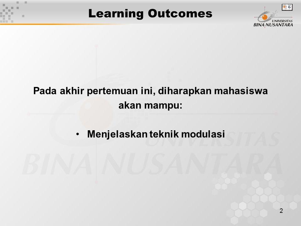 2 Learning Outcomes Pada akhir pertemuan ini, diharapkan mahasiswa akan mampu: Menjelaskan teknik modulasi