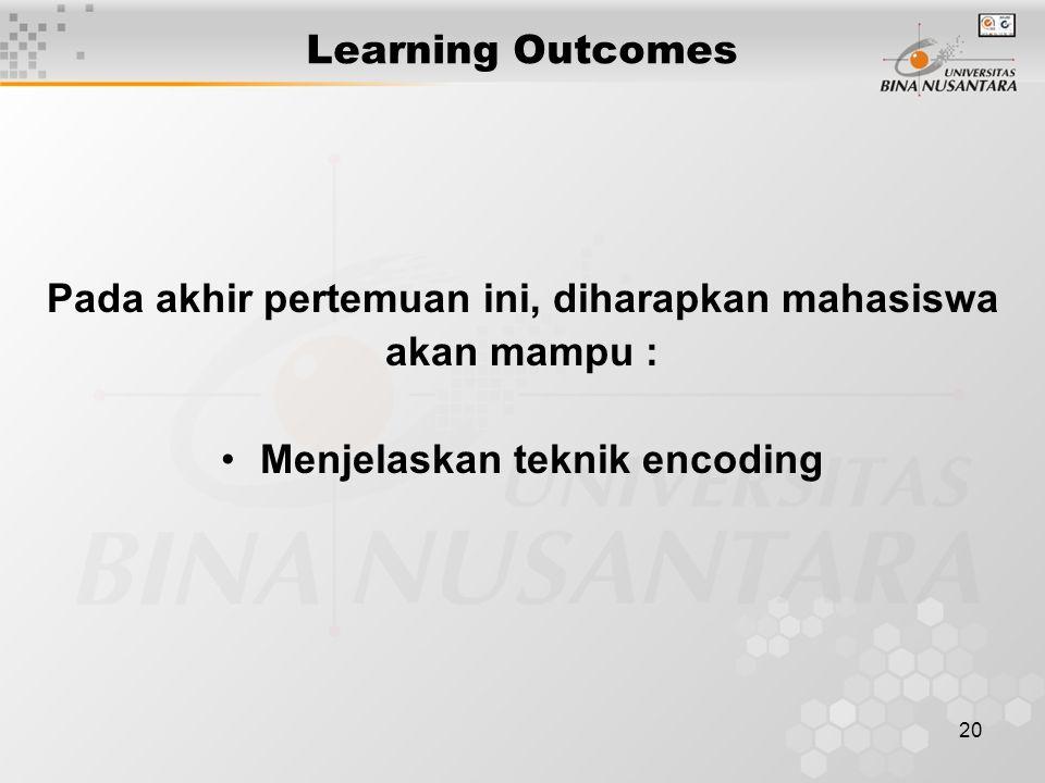 20 Learning Outcomes Pada akhir pertemuan ini, diharapkan mahasiswa akan mampu : Menjelaskan teknik encoding
