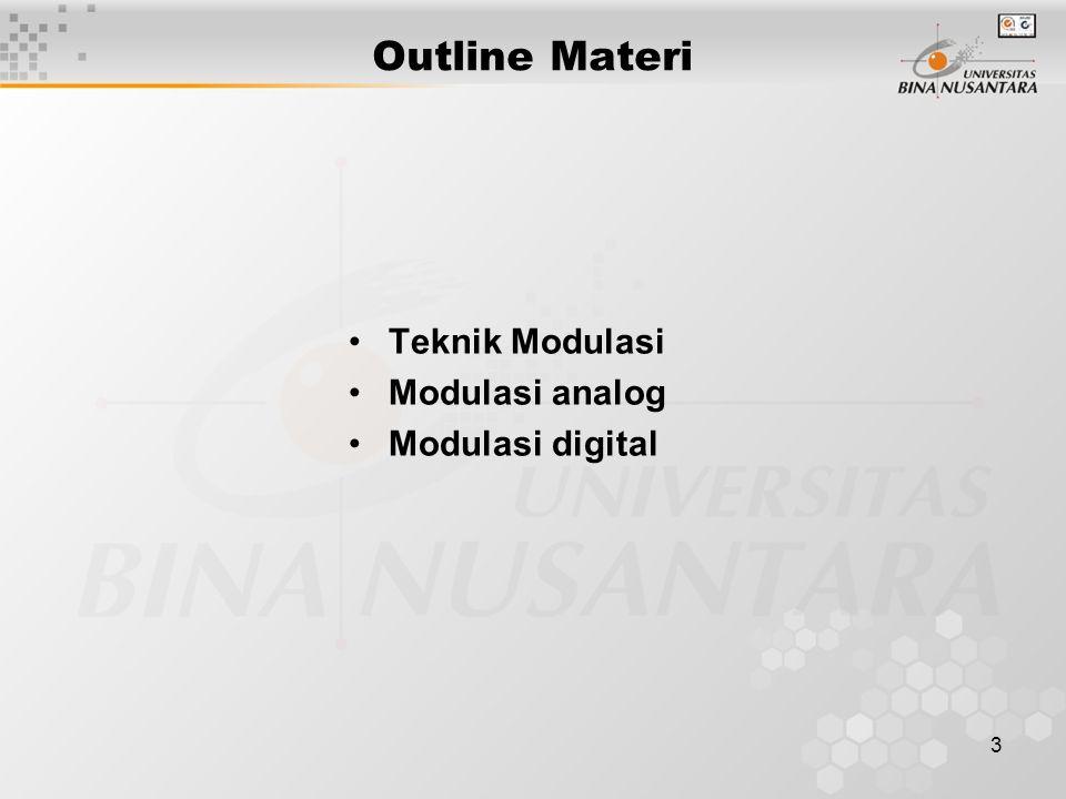 3 Outline Materi Teknik Modulasi Modulasi analog Modulasi digital