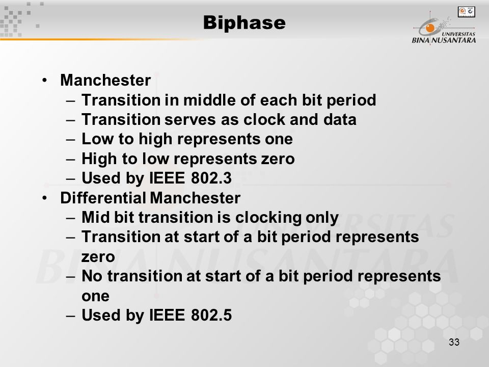 33 Biphase Manchester –Transition in middle of each bit period –Transition serves as clock and data –Low to high represents one –High to low represent
