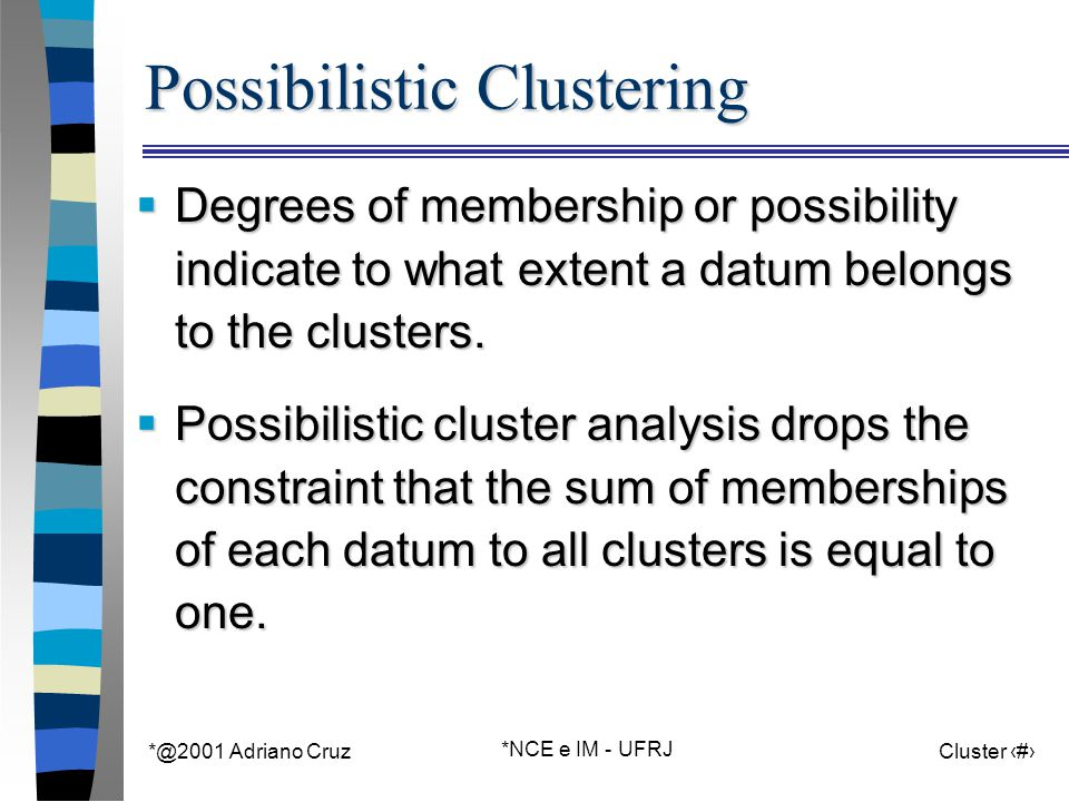 *@2001 Adriano Cruz *NCE e IM - UFRJ Cluster 14 Possibilistic Clustering  Degrees of membership or possibility indicate to what extent a datum belongs to the clusters.