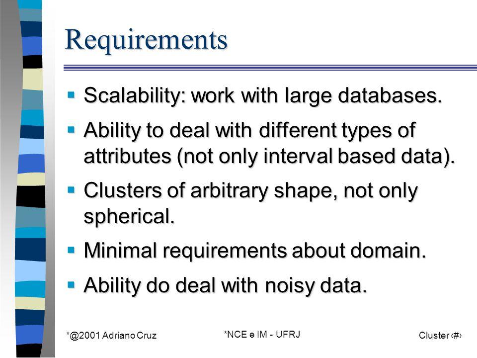 *@2001 Adriano Cruz *NCE e IM - UFRJ Cluster 67 Partitioning Methods cont.
