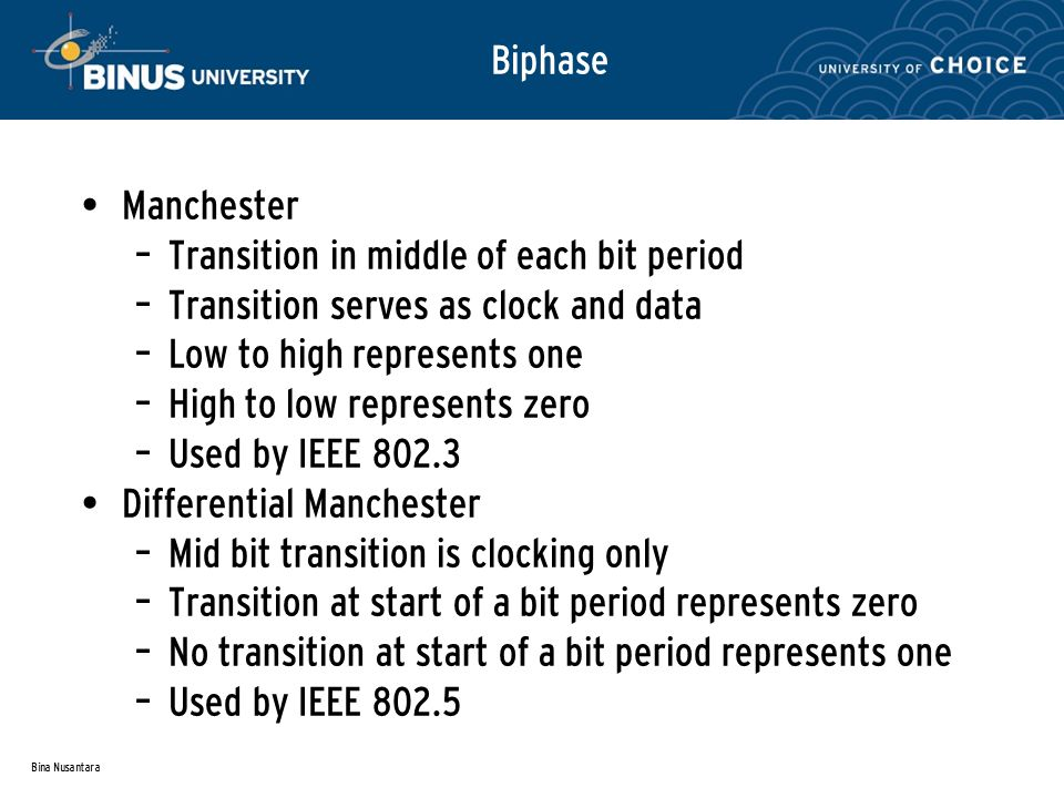 Bina Nusantara Biphase Manchester – Transition in middle of each bit period – Transition serves as clock and data – Low to high represents one – High to low represents zero – Used by IEEE 802.3 Differential Manchester – Mid bit transition is clocking only – Transition at start of a bit period represents zero – No transition at start of a bit period represents one – Used by IEEE 802.5