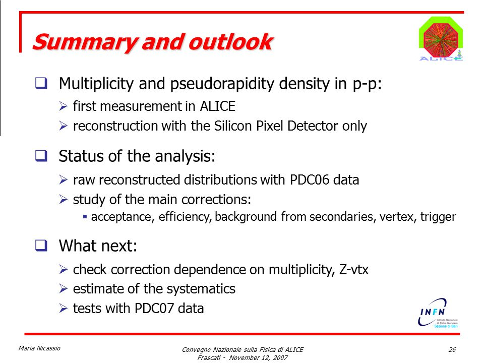 Maria Nicassio Convegno Nazionale sulla Fisica di ALICE Frascati - November 12, 2007 26 Summary and outlook  Multiplicity and pseudorapidity density in p-p:  first measurement in ALICE  reconstruction with the Silicon Pixel Detector only  Status of the analysis:  raw reconstructed distributions with PDC06 data  study of the main corrections:  acceptance, efficiency, background from secondaries, vertex, trigger  What next:  check correction dependence on multiplicity, Z-vtx  estimate of the systematics  tests with PDC07 data