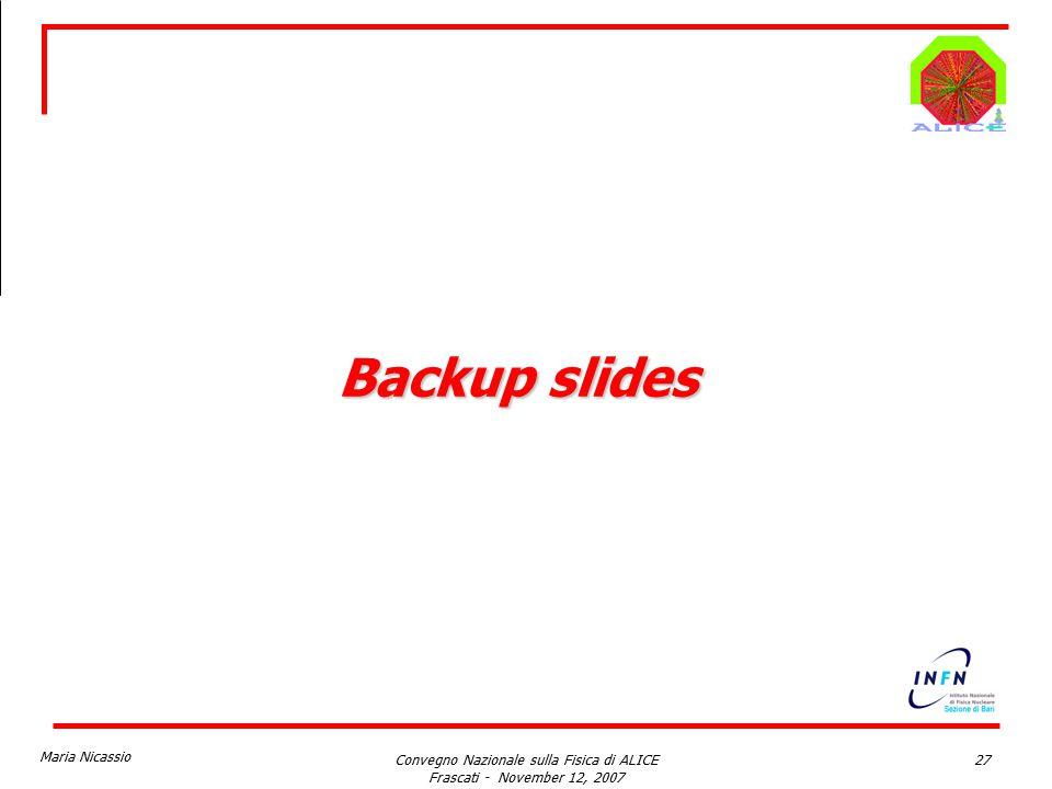 Maria Nicassio Convegno Nazionale sulla Fisica di ALICE Frascati - November 12, 2007 27 Backup slides