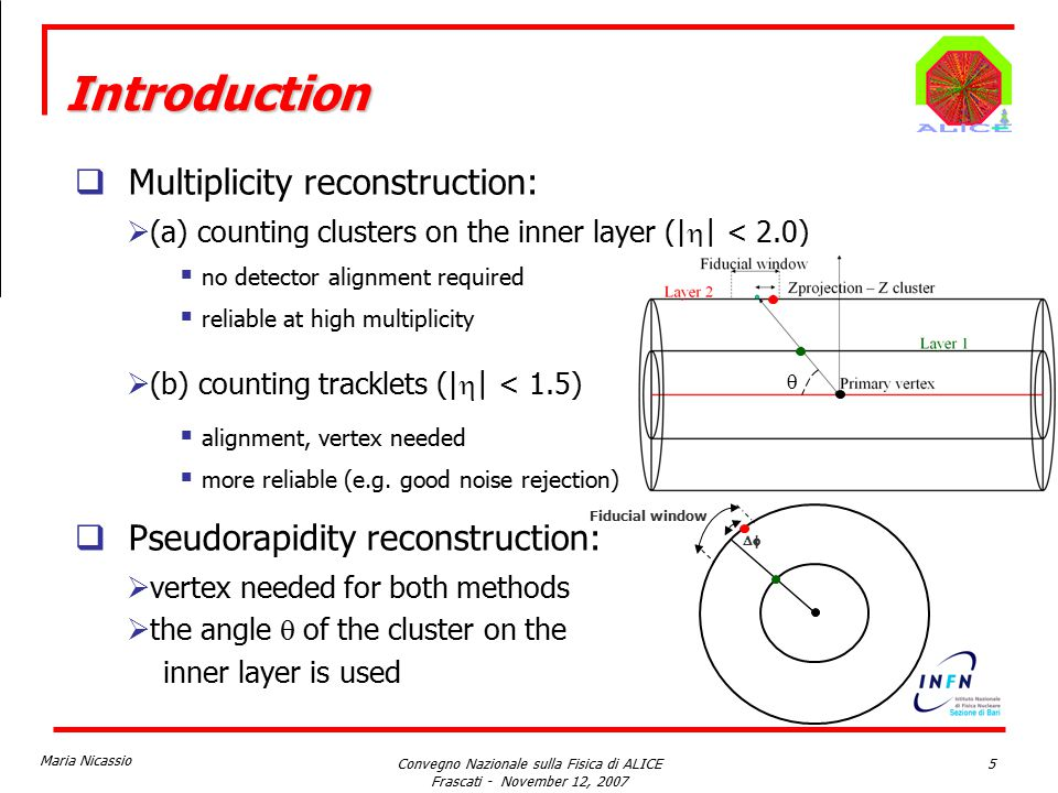 Maria Nicassio Convegno Nazionale sulla Fisica di ALICE Frascati - November 12, 2007 5  Multiplicity reconstruction:  (a) counting clusters on the inner layer (|  | < 2.0)  no detector alignment required  reliable at high multiplicity  (b) counting tracklets (|  | < 1.5)  alignment, vertex needed  more reliable (e.g.