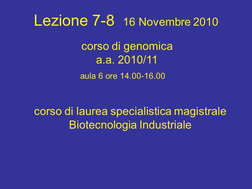Lezione 7-8 16 Novembre 2010 corso di laurea specialistica magistrale Biotecnologia Industriale aula 6 ore 14.00-16.00 corso di genomica a.a.