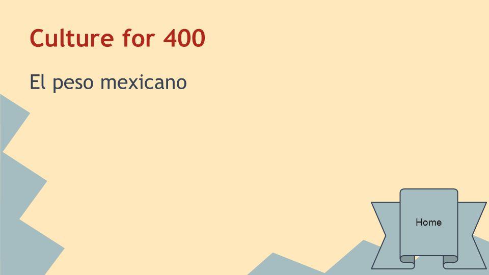 Culture for 400 El peso mexicano Home